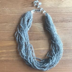 """Vintage Silver Bead Chocker Necklace. 14"""" to 16"""""""
